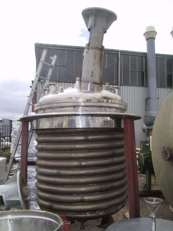 1,860 Litre, 1.38 Bar Internal, 8.62 Bar Jacket 316 Stainless Steel Reactor