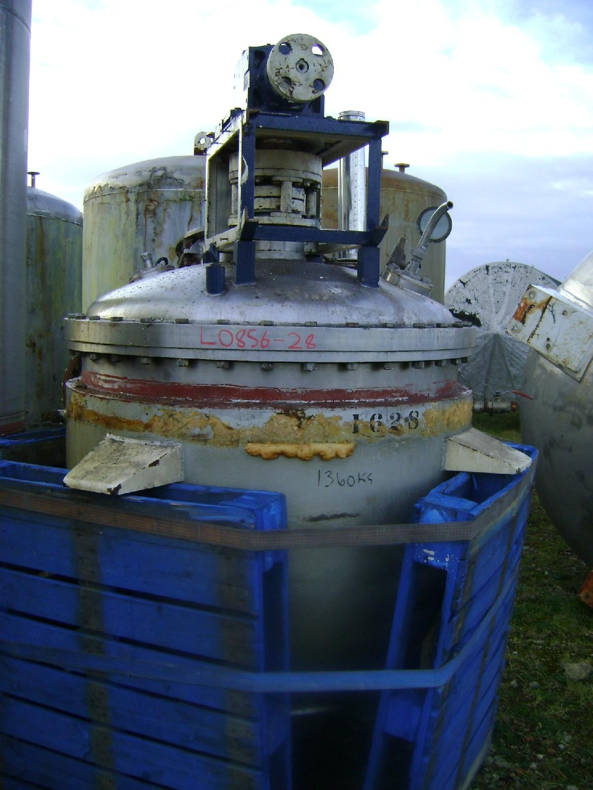 1,000 Litre, 2.07 Bar Jacket Stainless Steel Reactor