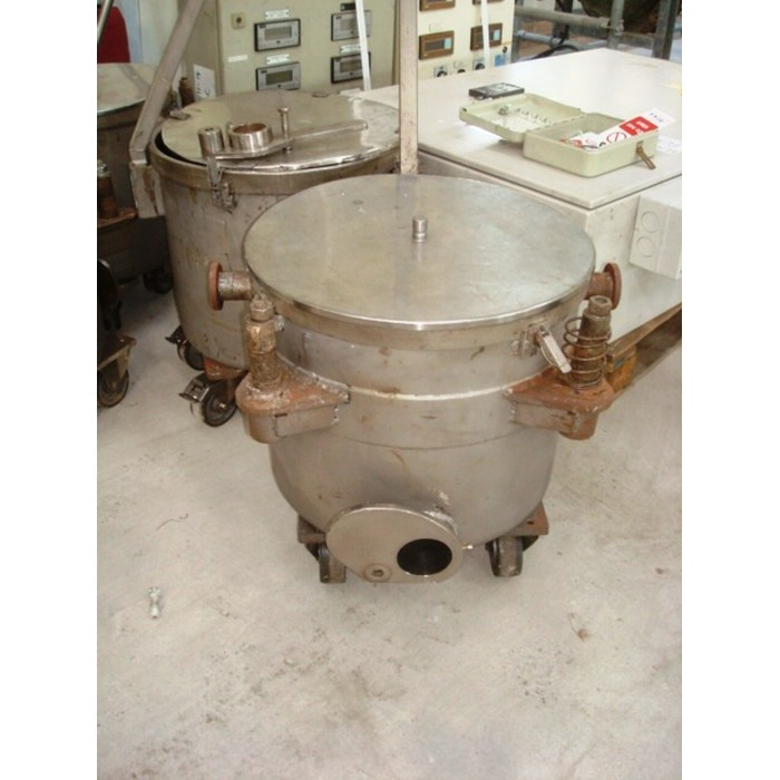 60 Litre Talleres Miralles Stainless Steel Open Trolley Tanks 450mm Dia x 400mm Deep