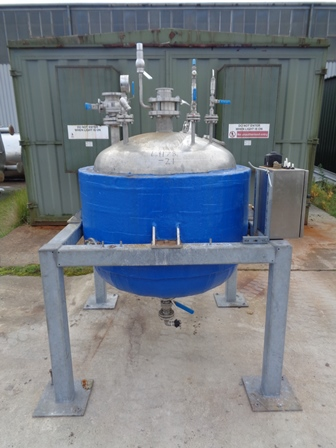 500 Litre T. Musk Engineering Stainless Steel Vertical Jacketed Vessel, 1000mm Dia x 650mm Straight Side