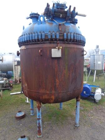 2270 litrů, 6 bar vnitřní, 7,59 bar duplikace, Pfaudler Balfour model B-2270-II smaltovaný duplikovaný kotel