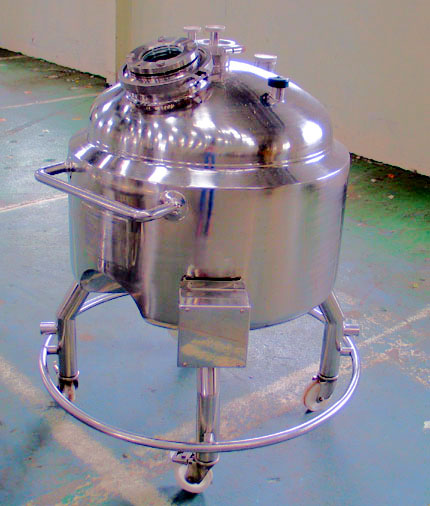 170 Litre Stainless Steel Mobile Receiver Vessel, 650mm Dia x 350mm Straight Side, Unused