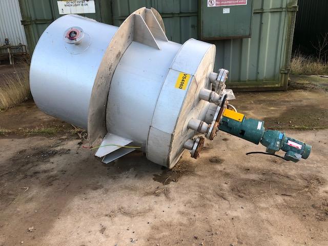 1000 litrů, nerezový míchaný zásobník, průměr 1000 mm x 1300 mm výška