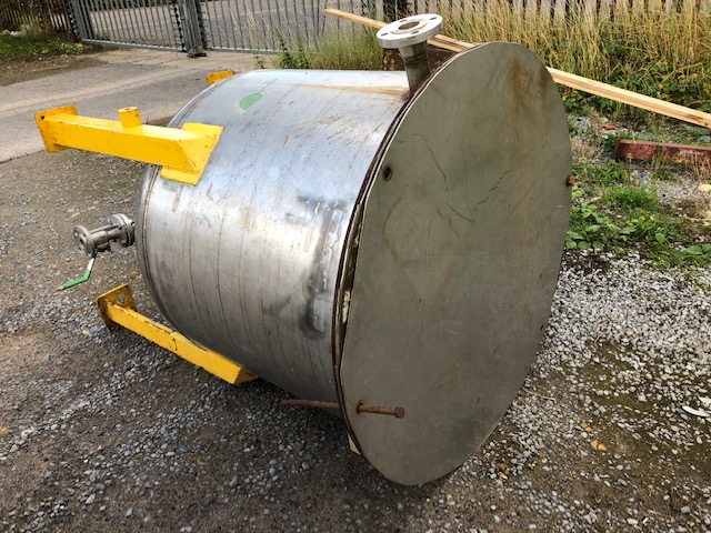 400 Litre Stainless Steel Vertical Tank, 850mm Dia x 700mm Straight Side
