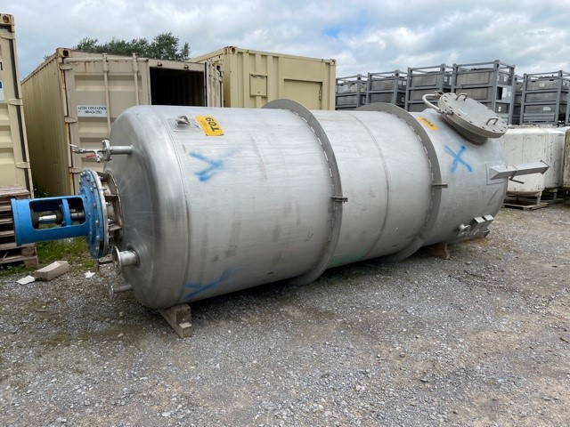 9,000 Litre Mcmillan 316L Stainless Steel Vertical Mixing Vessel, 1700mm Dia x 3900mm Straight Side