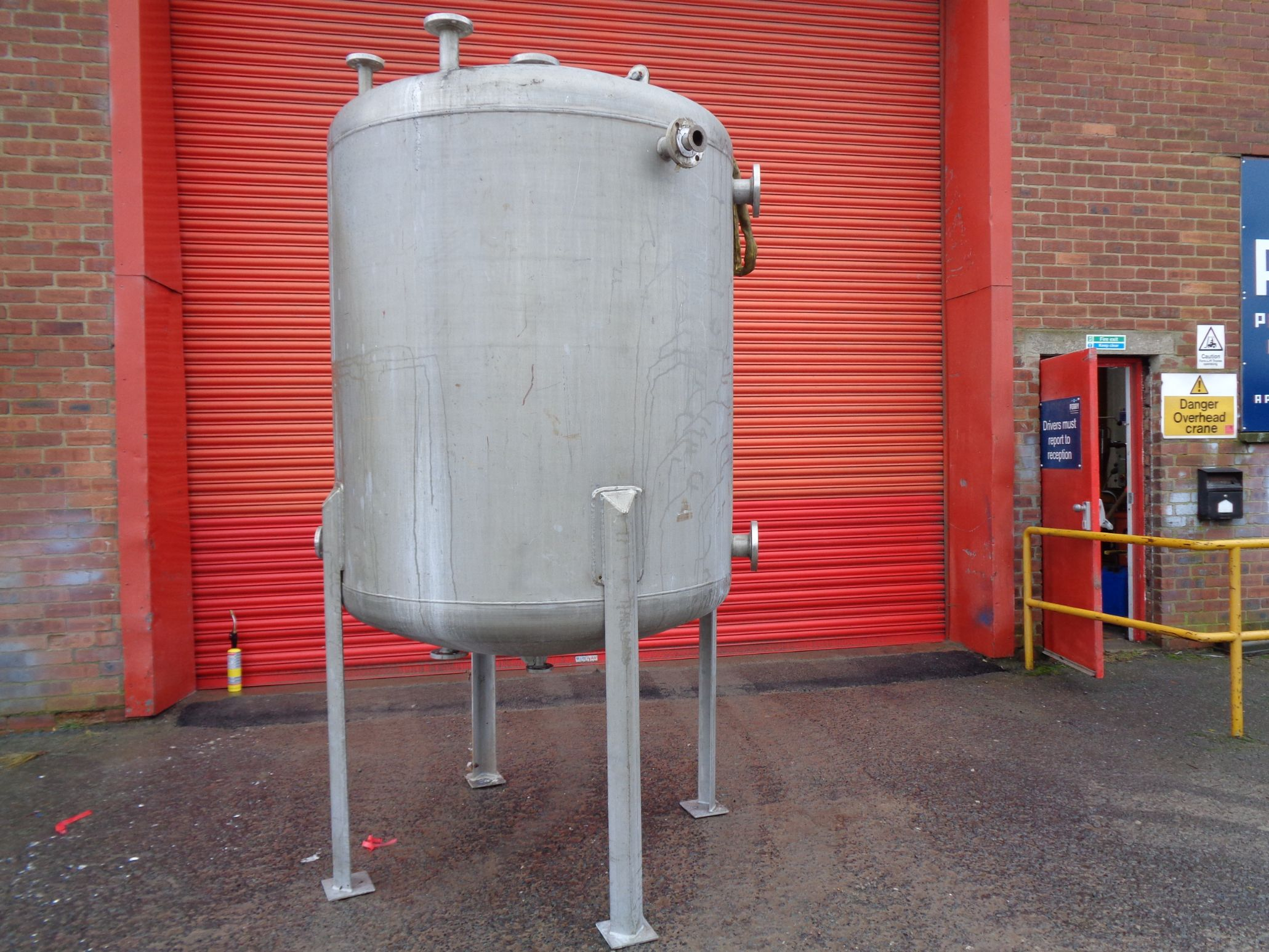 3,500 Litre Desmet Stainless Steel Vertical Storage Vessel, 1500mm Dia x 1500mm Straight Side