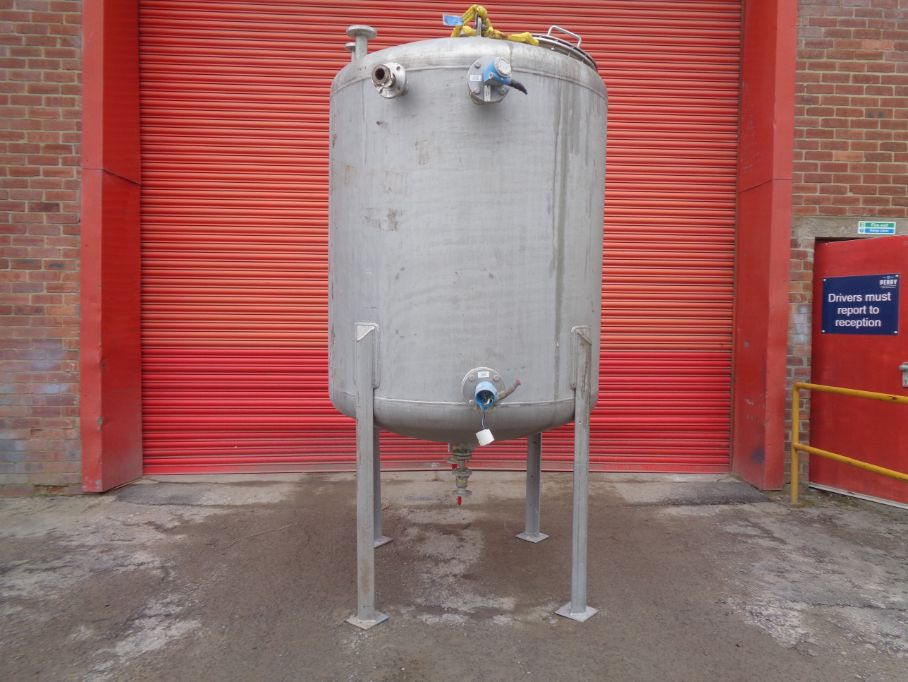3,000 Litre Desmet Stainless Steel Vertical Storage Vessel, 1500mm Dia x 1500mm Straight Side