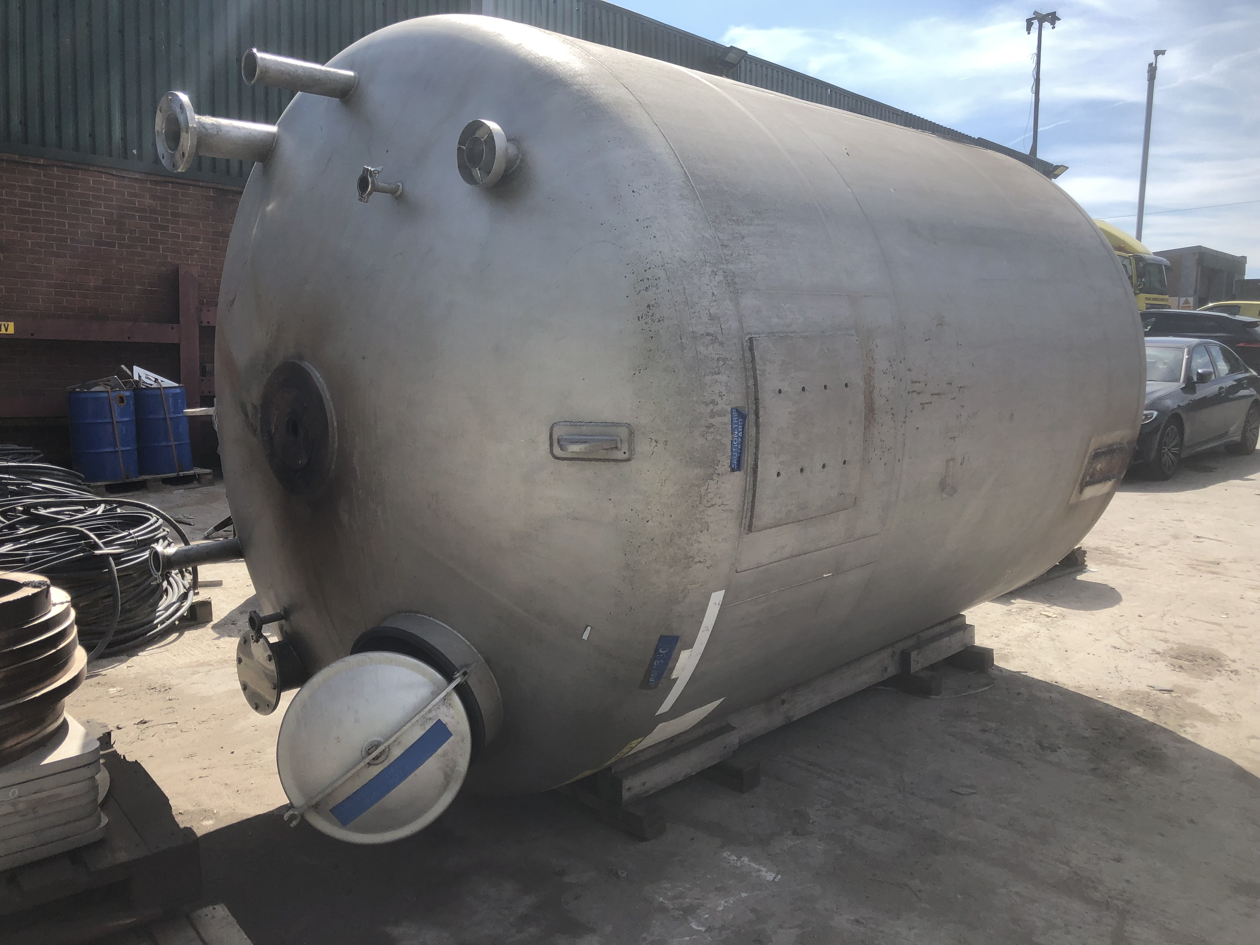10,000 Litre 316 Stainless Steel Storage Vessel, 2200mm Dia x 2750mm Straight Side