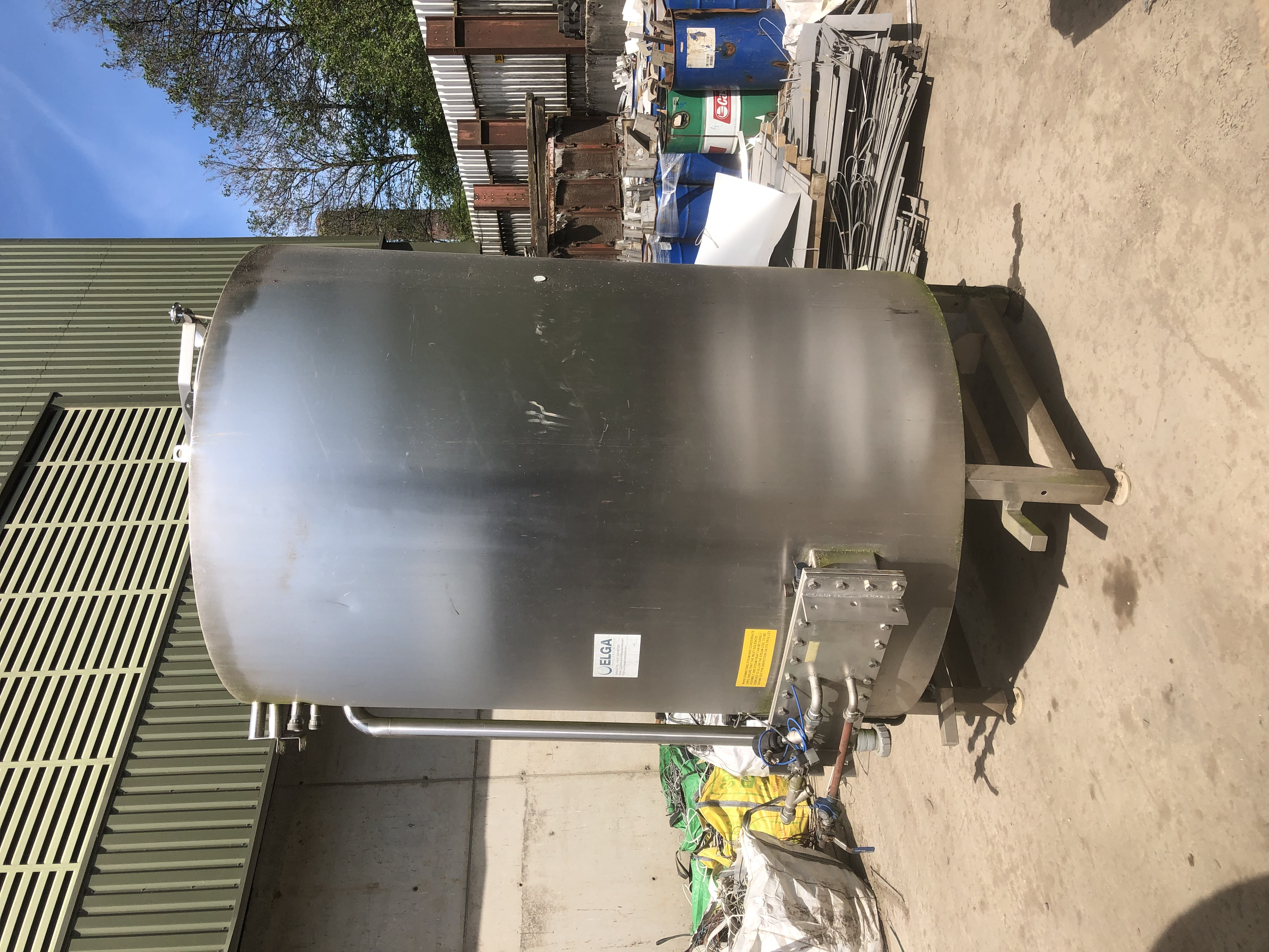 7,000 Litre Stainless Steel Vertical Tank, 2,000mm Dia x 2,300mm Straight Side.