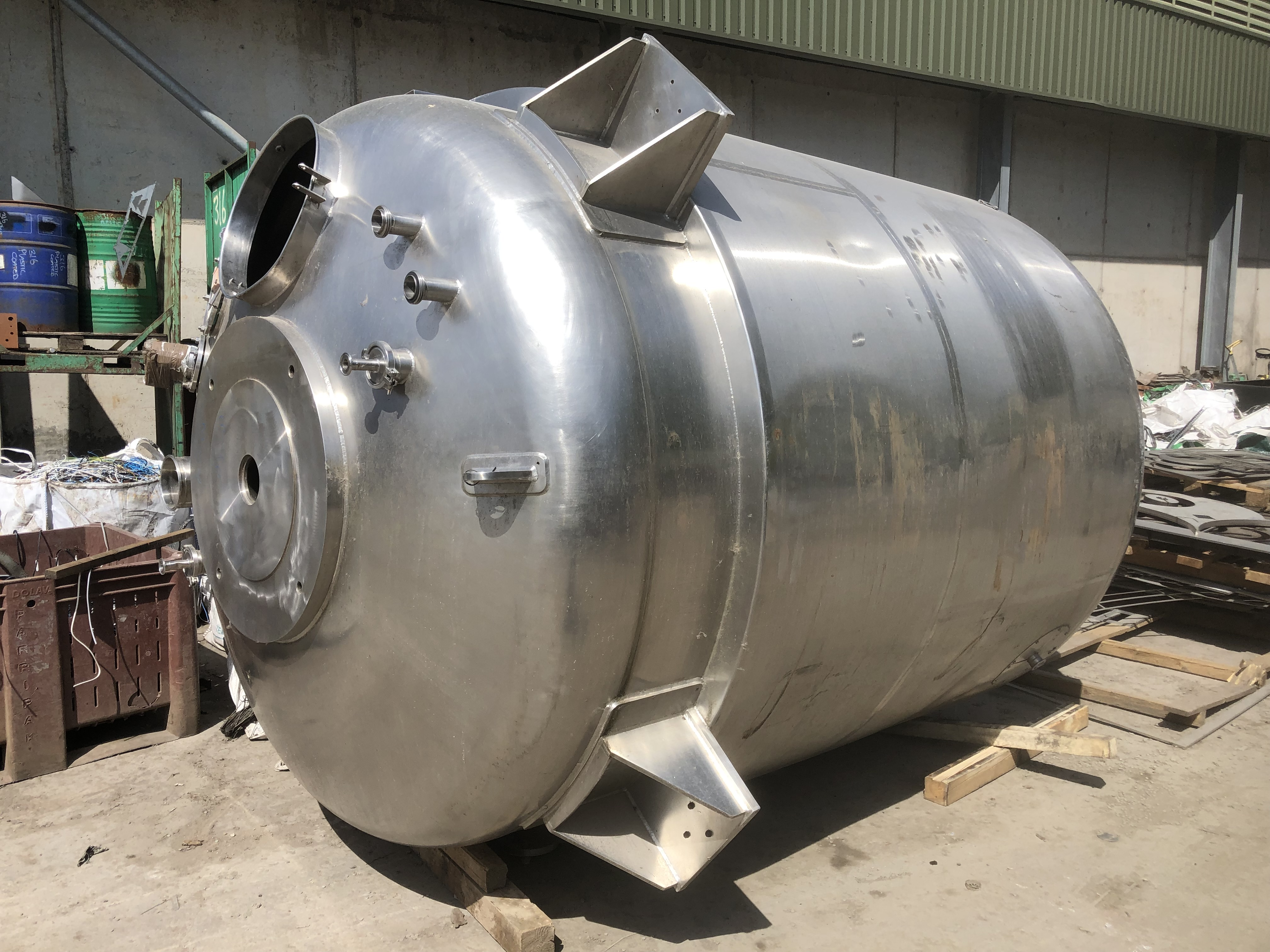 8,000 Litre 316  Stainless Steel Vertical Jacketed Vessel 2,000mm Dia x 2,400mm Straight Side