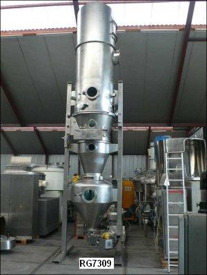 Glatt Model WST-CD-120/200 1200mm X 550mm 316 Stainless Steel Fluid Bed Dryer