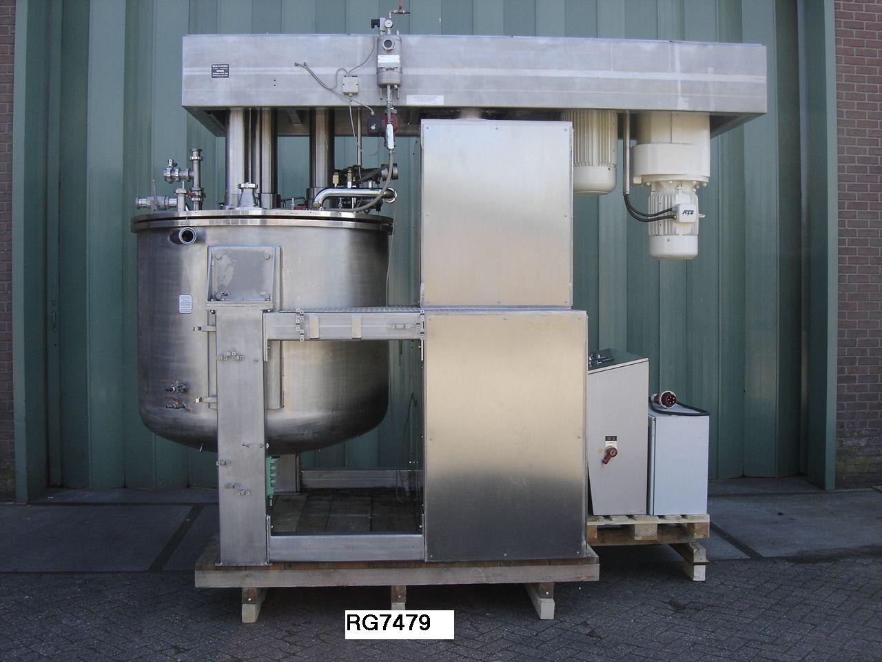 528 Gallon 21 HP Brogli 304 Stainless Steel Multi-homo Vacuum Processing Vessel Reconditioned