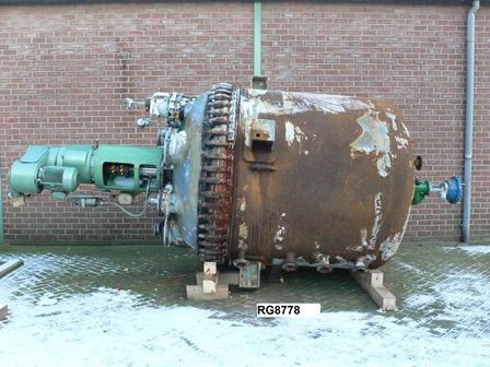 5,388 Litre 6 Bar Internal, 7 Bar Jacket DeDietrich Glass Lined Reactor