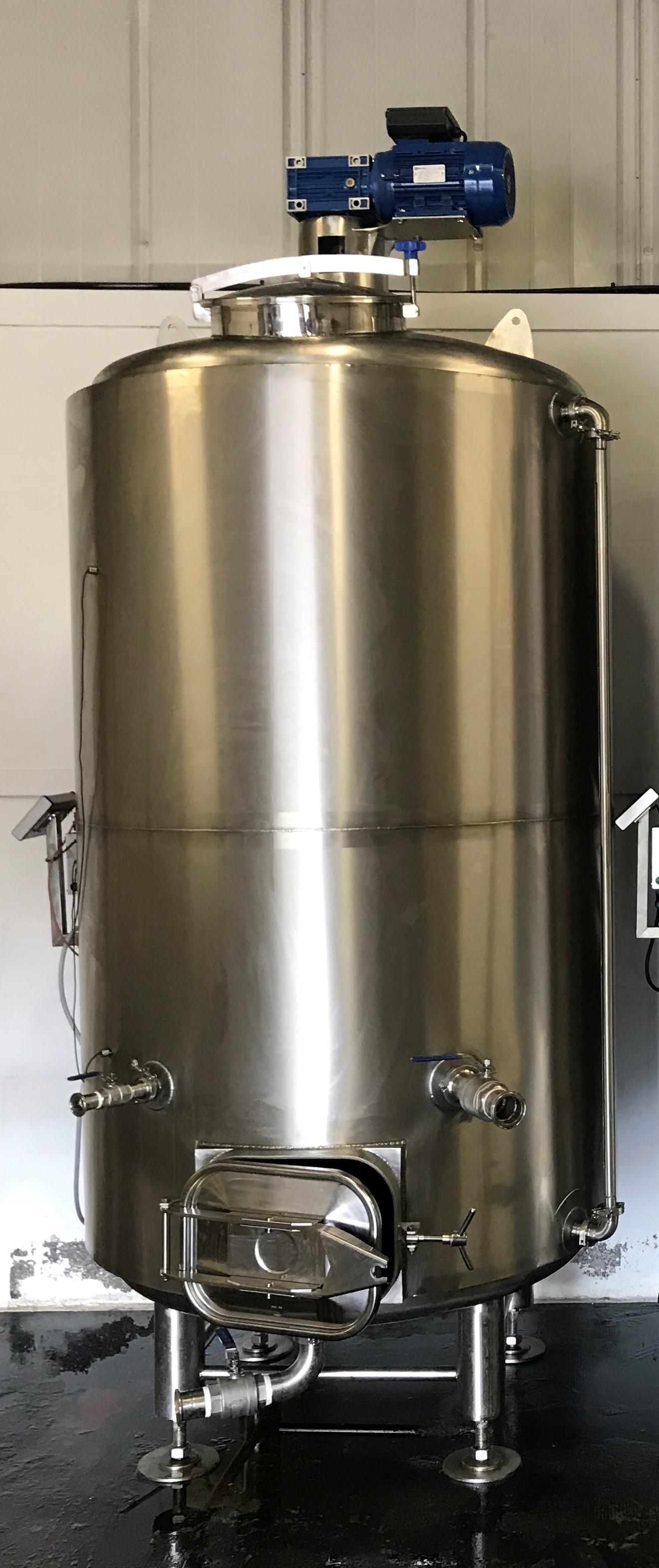 2,000 Litre, Atmospheric Internal, 3 Bar Jacket, Stainless Steel Vertical Fermenter Vessel