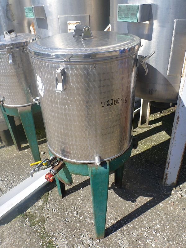 100 Litre Stainless Steel Vertical Storage Tank 500mm x 600mm Straight Side