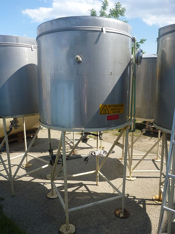 850 Liters Stainless Steel Storage Tank 1100mm Dia x 900mm Straight Side