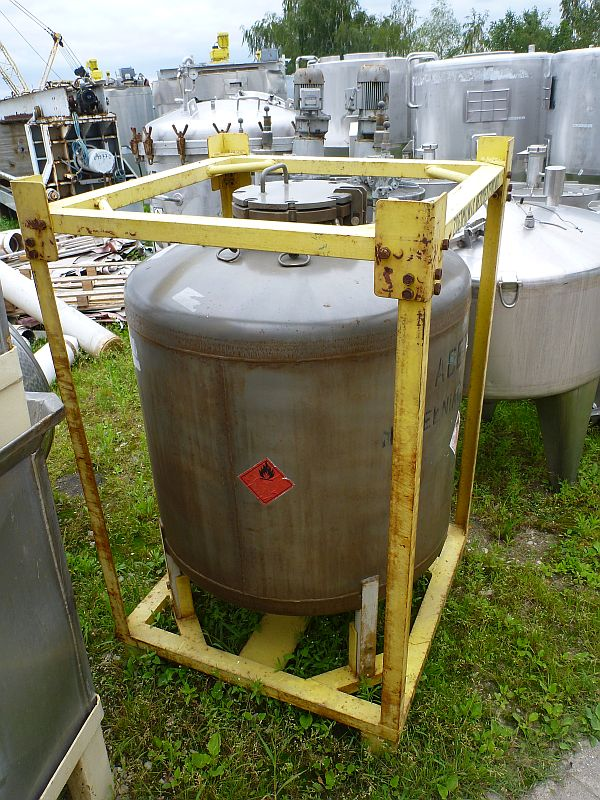 500 Liters Stainless Steel Storage Tank 800mm Dia x 810mm Straight Side