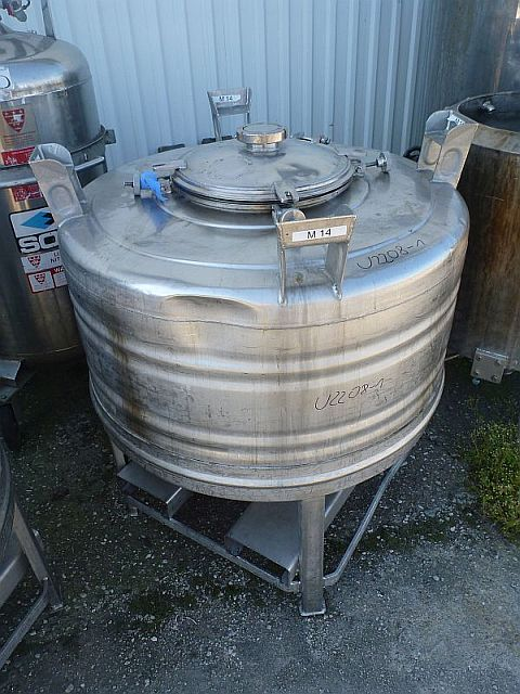 500 Litre Vertical Stainless Steel Storage Tank 1000mm Dia x 530mm Straight Side