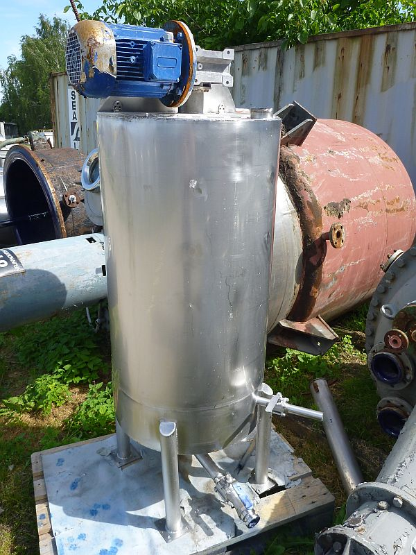 360 Liter Second Hand Stainless Steel Mixing Tank 620mm Dia x 1200mm Straight Side