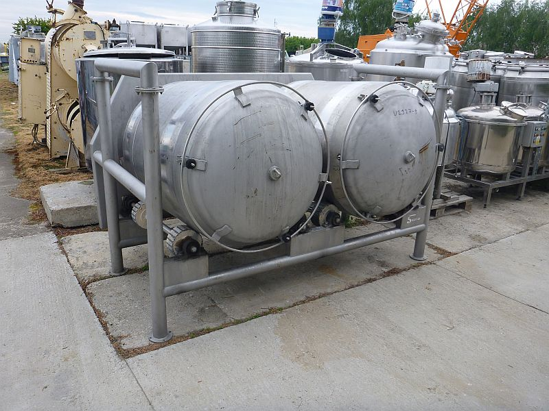 65 Cubic Foot Scanio (Denmark) 304 Stainless Steel Barrel Tumbling Mixer
