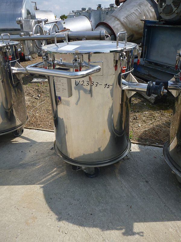 250 L Stainless Steel Vertical Transport Pan Tilt Discharge