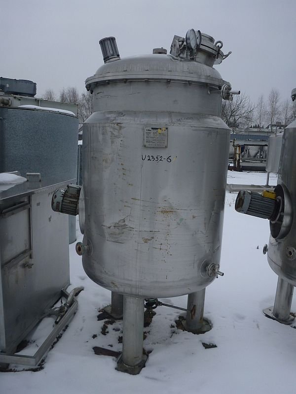 1240 l Vertical Stainless Steel Jacketed Reactor Meilibex A. Meili S.A. With Side Wall Agitator