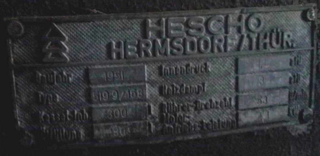 300 Litre 1.5 Bar Internal, 3 Bar Jacket Hermsdorf/Thur Mixing Vessel