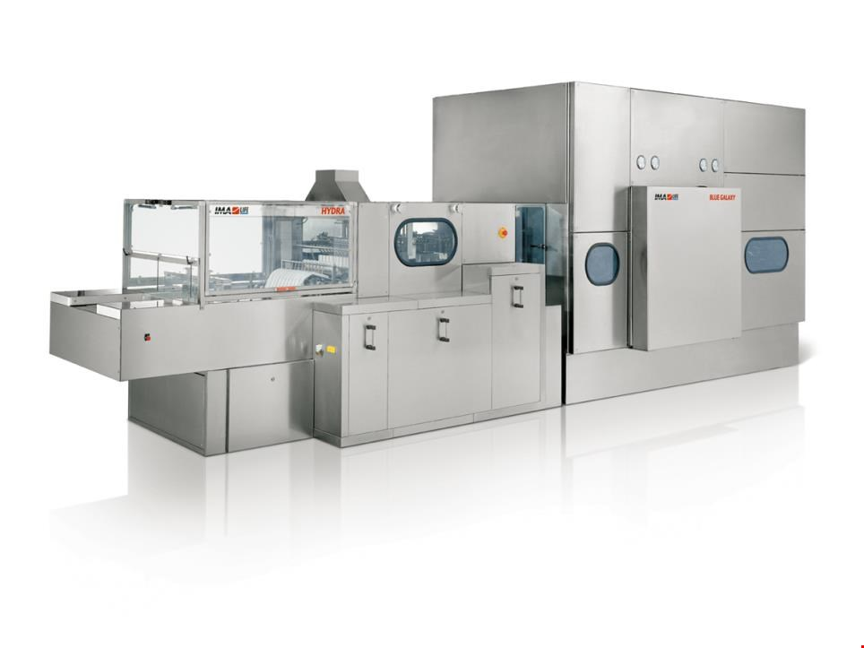 Unused Line for Washing and Sterilizing Glass Containers by IMA type Hydra 1000 4I with Sterillizing Tunnel Blue Galaxy 870 FL