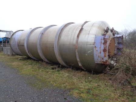 48,000 Litre Stainless Steel Vertical Liquid Storage Tank, 2800mm Dia x 7000mm Straight Side